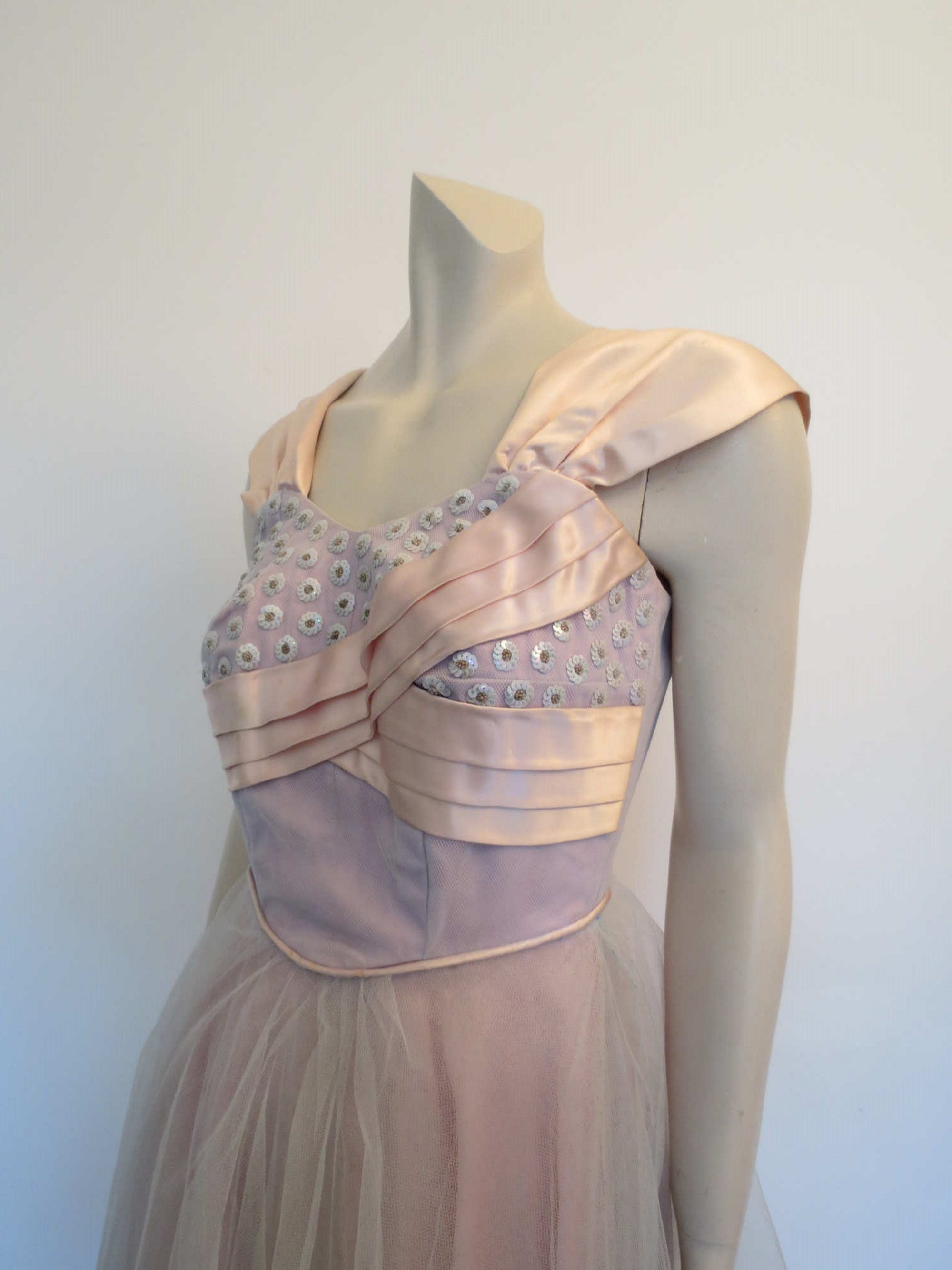 1950s vintage tulle and sequins dance dress prom dress