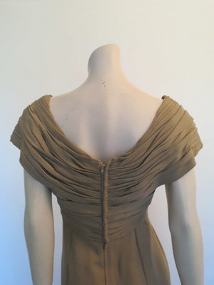 1960s vintage brown crepe cocktail dress with draped bodice by jinoel