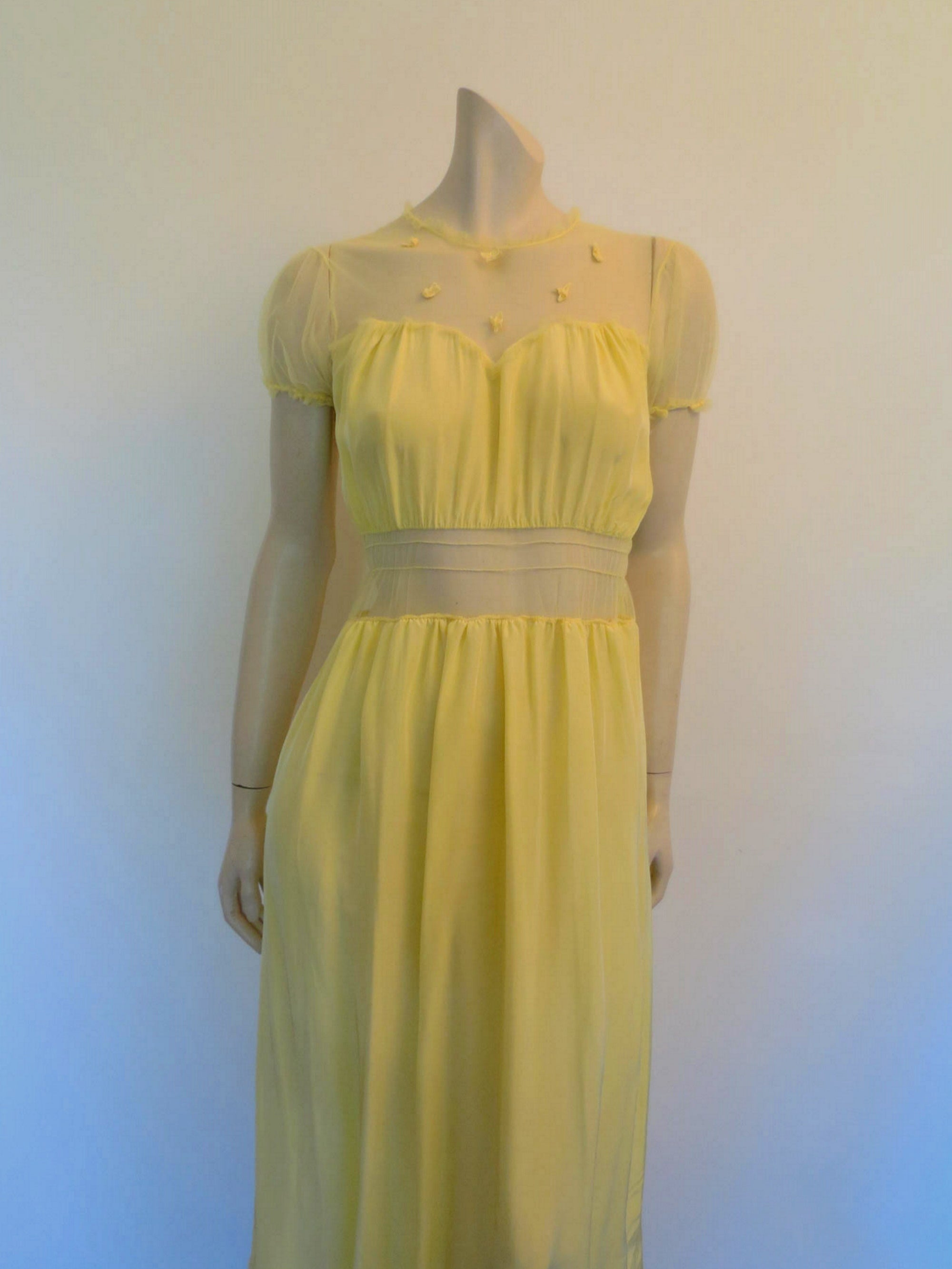 1940s vintage yellow nightgown with mesh yoke and midriff