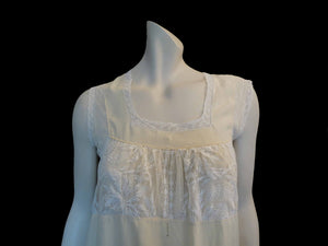 vintage antique 1910s 1920s nightgown with lace bodice cream rayon with cotton lace