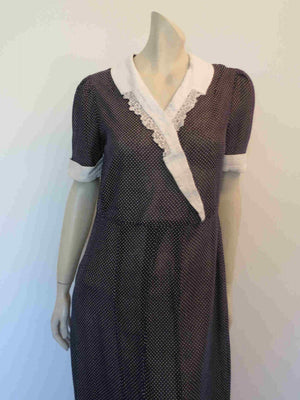 1930s vintage navy blue polka dot dress with crochet trim