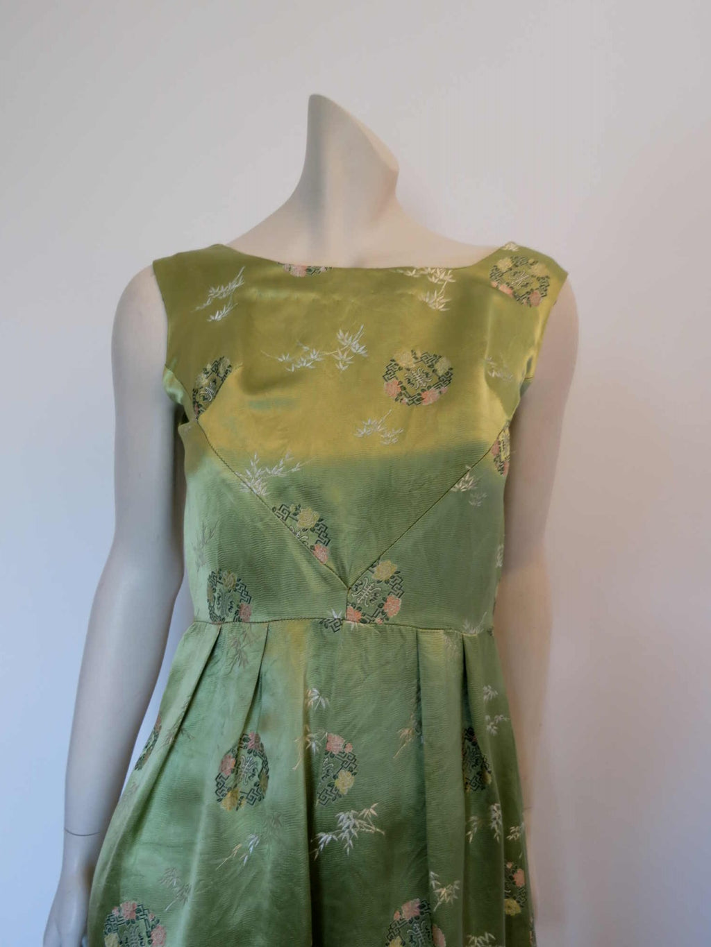 1960s vintage green chinese satin brocade dress