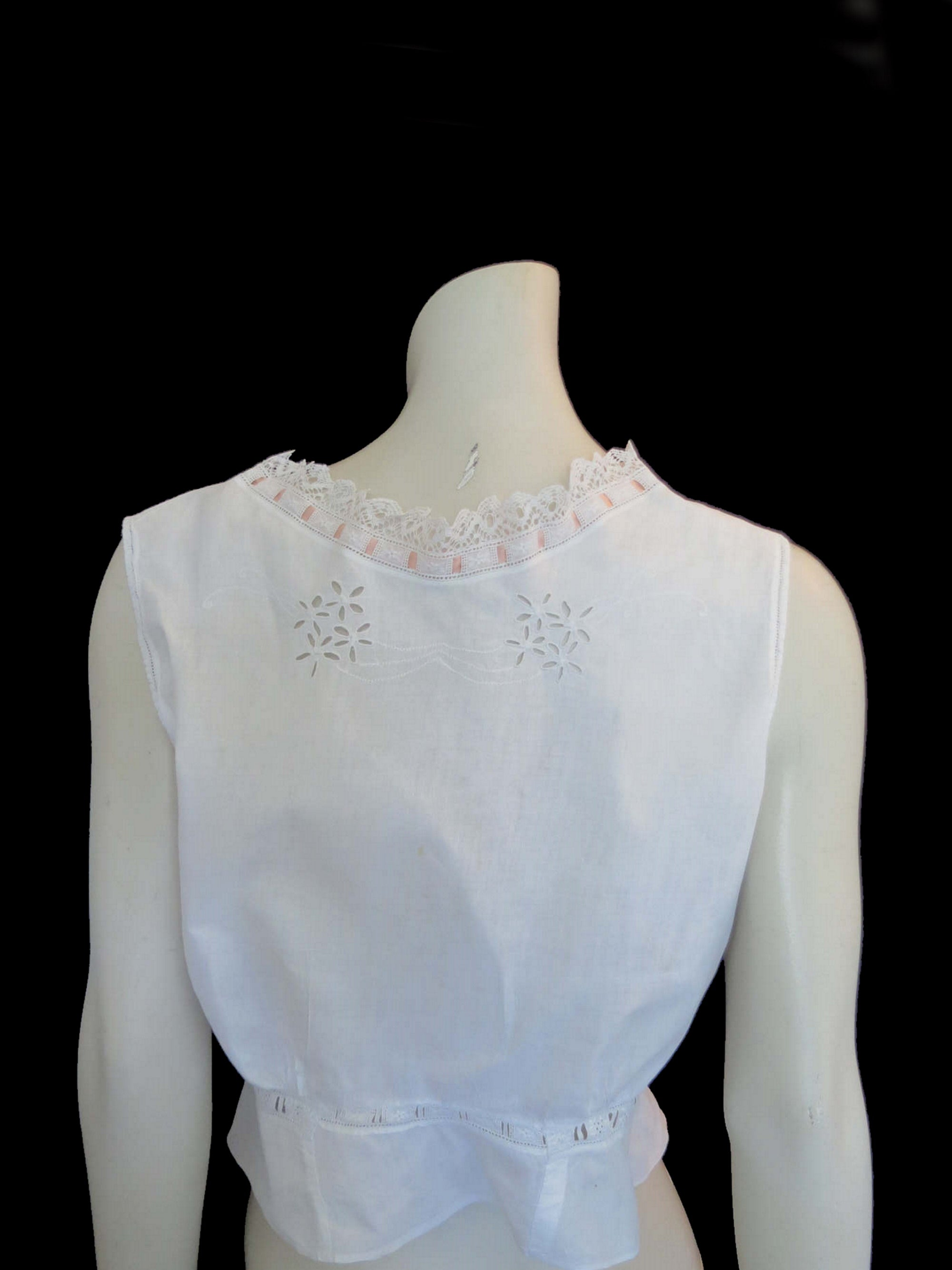 antique edwardian victorian corset cover embroidered camisole eyelet flowers