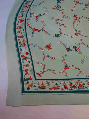 Green Scarf With Chinese Figures