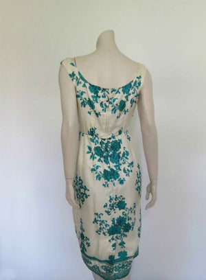 1960s vintage cream and emerald green floral silk dress