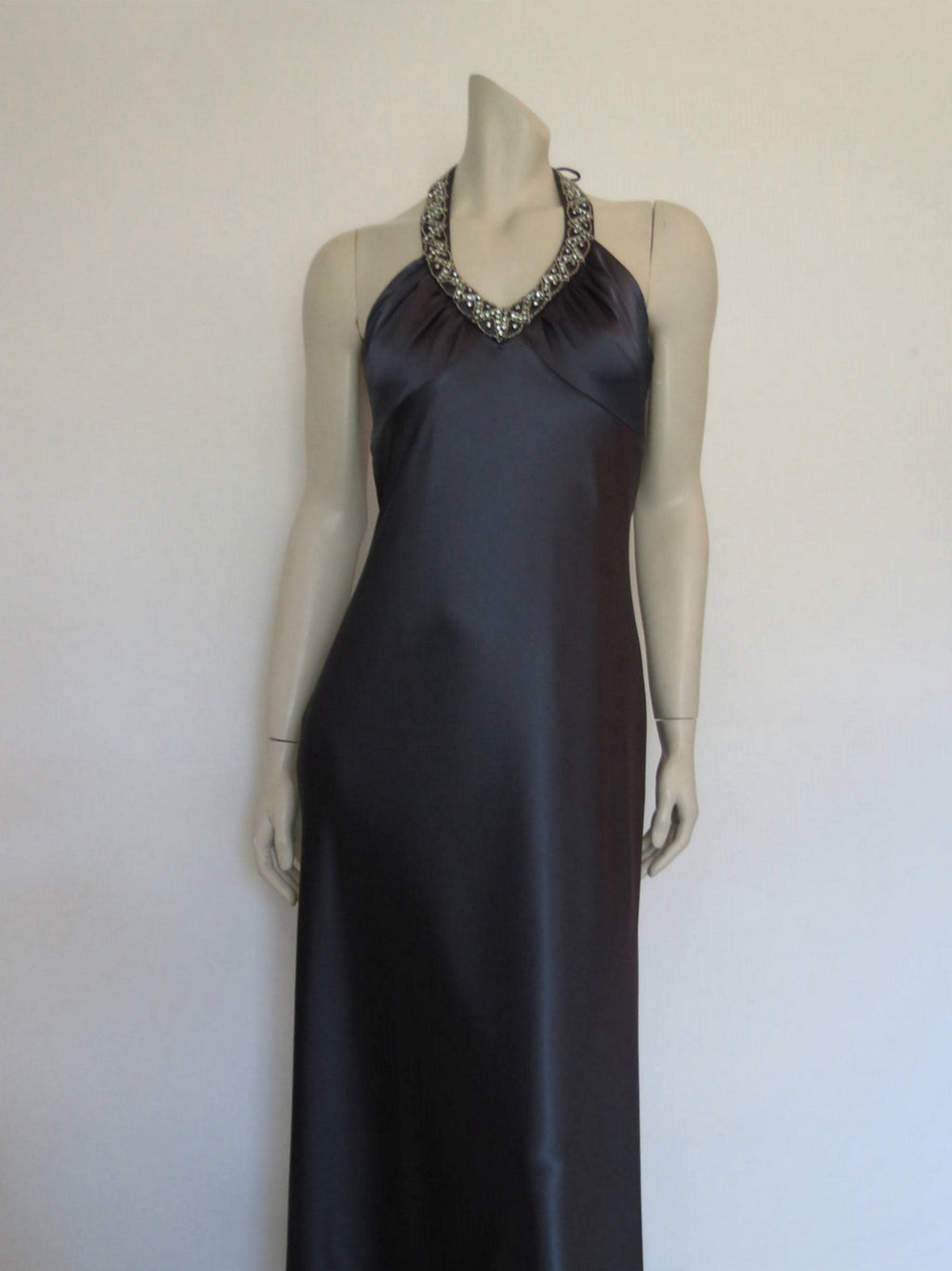 Steel Grey Formal Dress With Diamante Halter Neck by Mr K