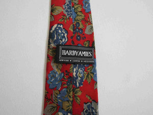 Red & Blue Floral Tie by Hardy Amies