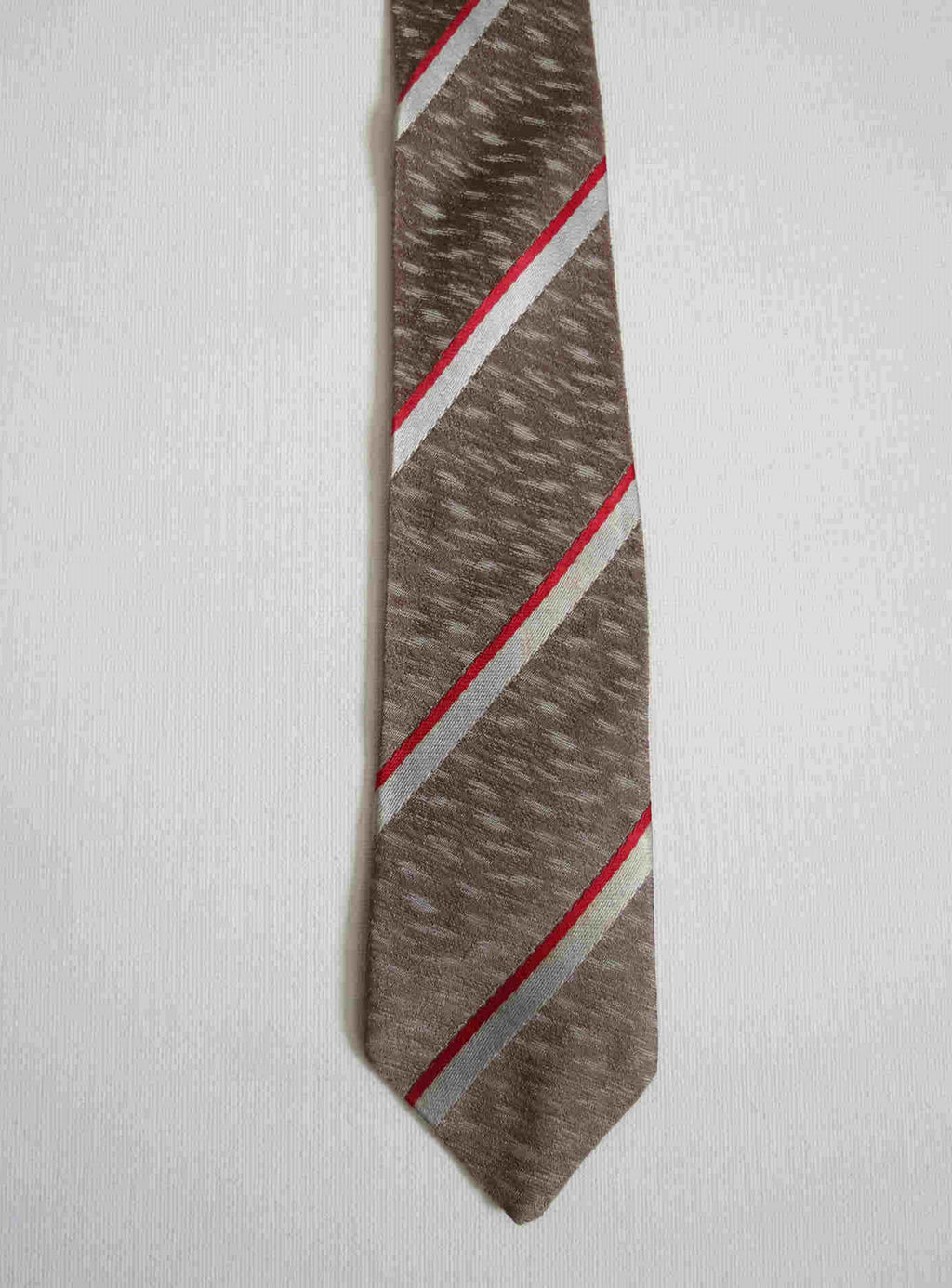 1950s vintage pewter rayon tie with silver and red stripes
