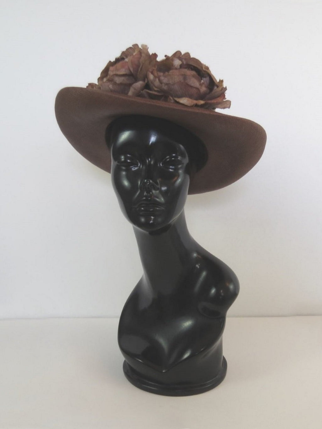 vintage brown autumn hat with flowers & berries mr martin