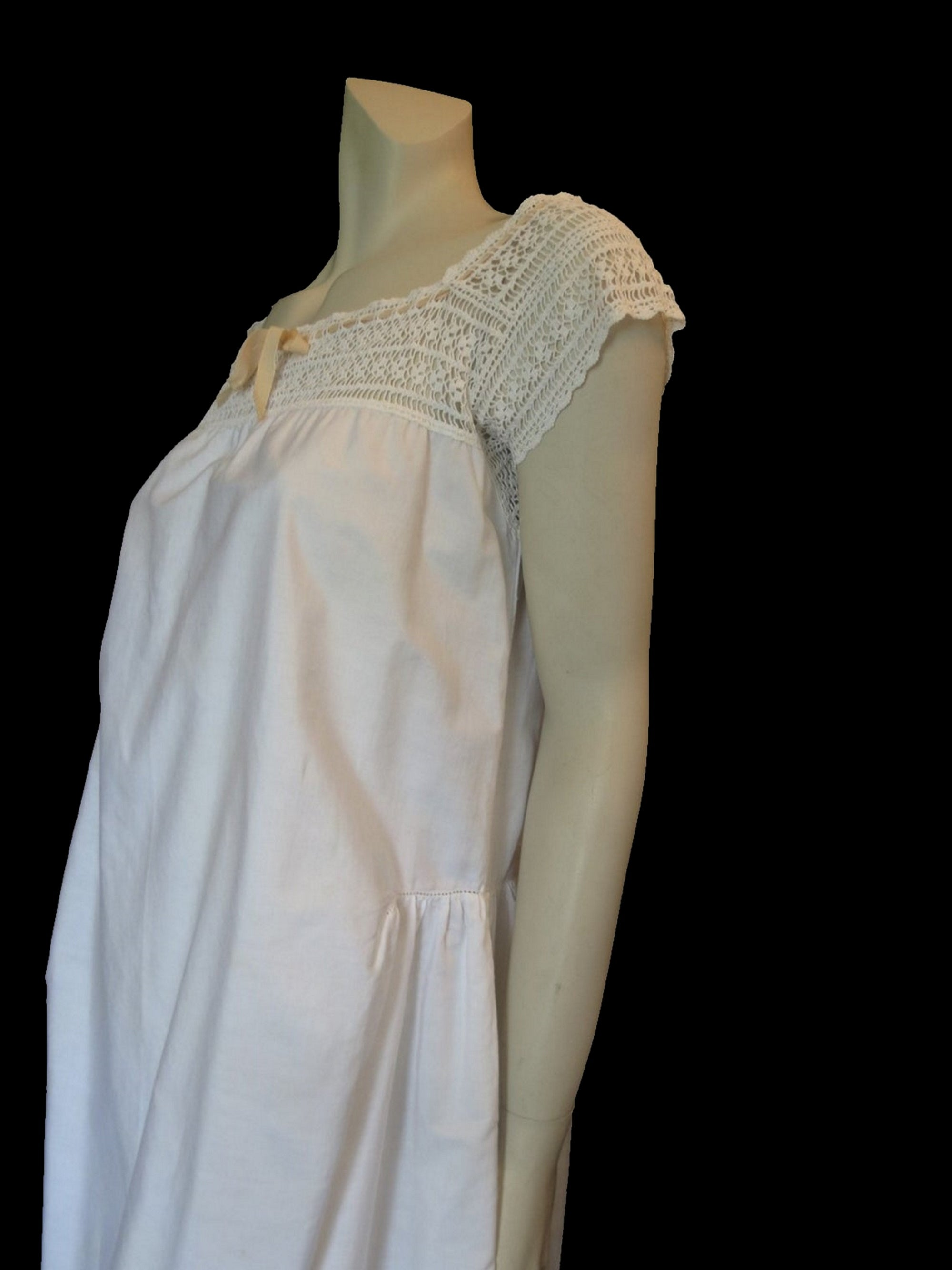 1920s vintage cotton petticoat dress with crocheted yoke