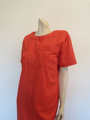 ungaro vintage designer orange dress 1980s fashion