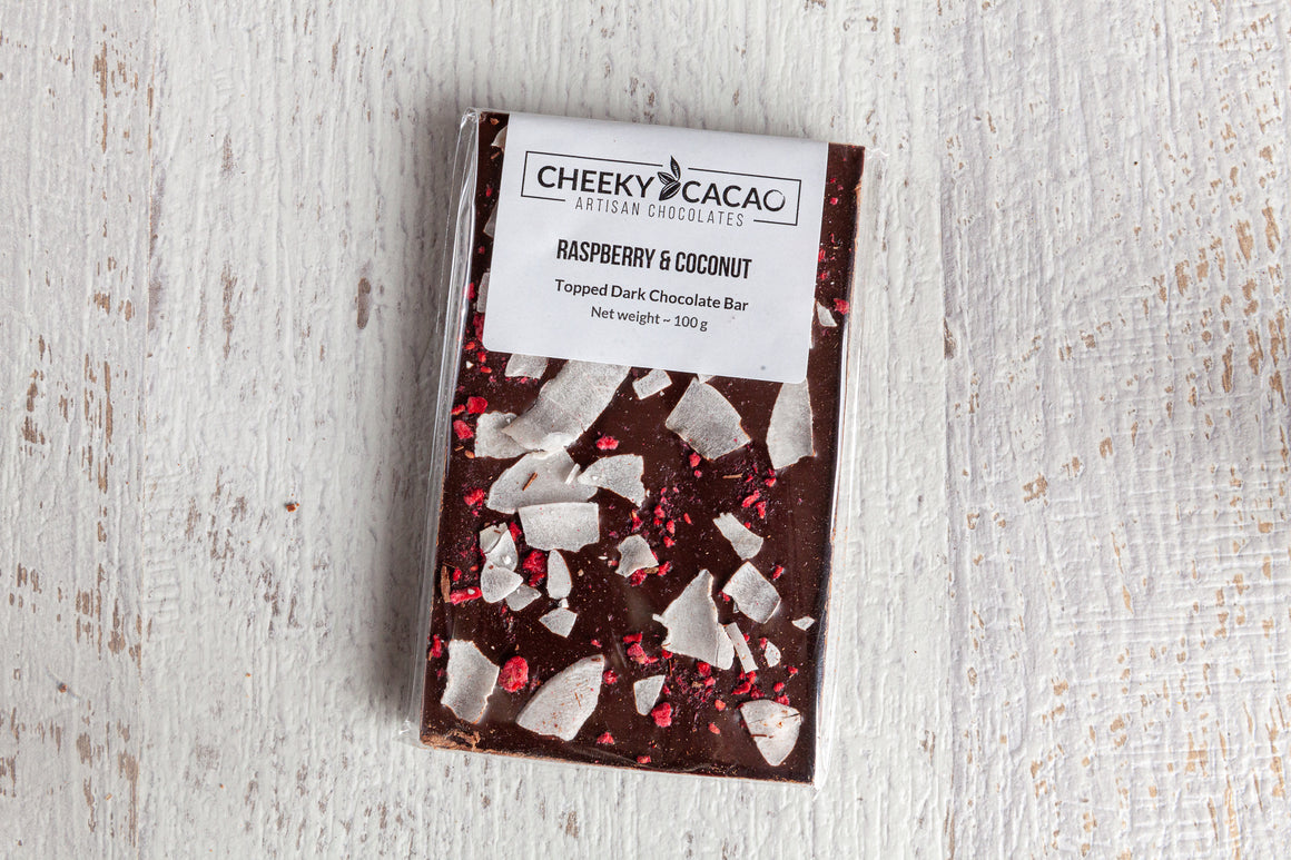 Cheeky Cacao Raspberry & Coconut Topped Bar (100g)