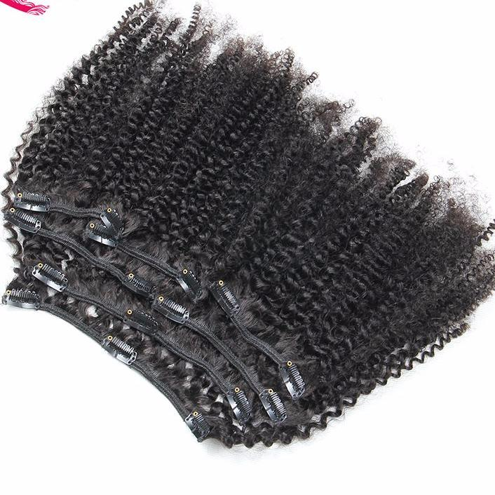 Amy Mongolian Remy Hair Afro Kinky Curly Clip In Human Hair