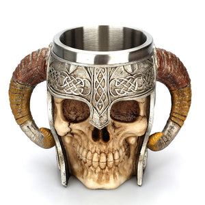 Massive Metal Viking Horn Skull Tankard Drinking Mug Stainless Steel - Heavy Metal Jewelry Clothing