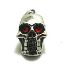 Metal Cracked Skull Red Eye Necklace Pendant Stainless Steel - Heavy Metal Jewelry Clothing