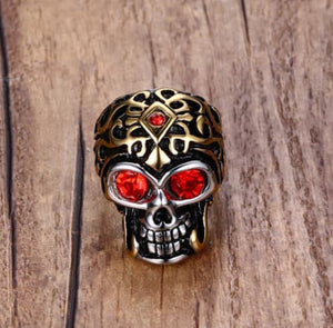 Black and Gold Metal Skull Ring with Red Stone Eyes Stainless Steel - Heavy Metal Jewelry Clothing