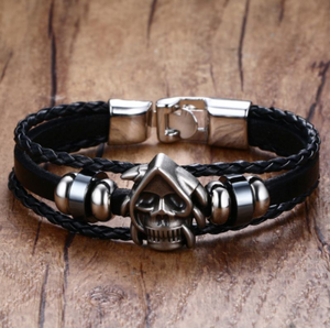 Black and Silver Metal Punk Gothic Skull Reaper Bracelet PU Leather - Heavy Metal Jewelry Clothing