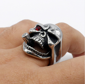 Silver Metal Skull Ring with Cigar in Mouth and One Red Eye Stainless Steel - Heavy Metal Jewelry Clothing