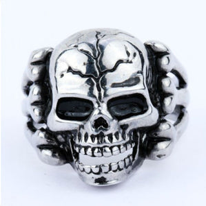 Metal Cracked Skull Face Steel Ring - Heavy Metal Jewelry Clothing
