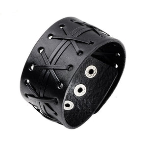 Two Row Laced Eyelet Heavy Metal Leather Bracelet - Heavy Metal Jewelry Clothing