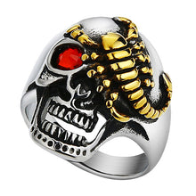 Scorpion Gem Eyes Skull Ring