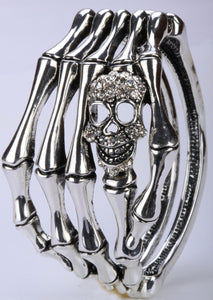 Metal Skull Skeleton Hand Grasp Bracelet - Heavy Metal Jewelry Clothing