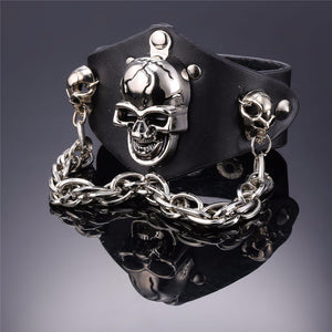 Metal Punk Gothic Cracked Skull and Chain Bracelet - Heavy Metal Jewelry Clothing