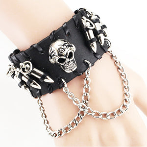 Black Metal Skull and Bullets Leather Bracelet with Chains