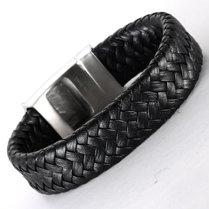 Black Metal Skeleton King Leather Bracelet - Heavy Metal Jewelry Clothing