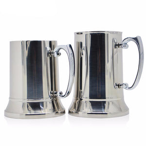 Classic Metal Beer Mug Tankard Chalice Double Walled Stainless Steel - Heavy Metal Jewelry Clothing