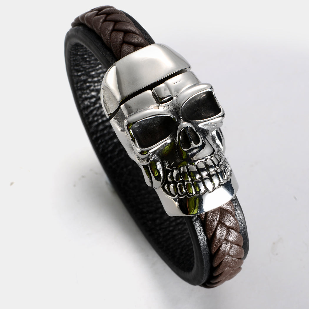 Brown Metal Big Skull Face Leather Bracelet - Heavy Metal Jewelry Clothing