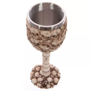 Metal Skulls and Spine Crypt Chalice Goblet Drinking Mug Stainless Steel - Heavy Metal Jewelry Clothing