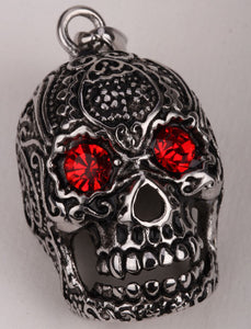 Metal Elaborate Vampire Skull Red Eyes Pendant Necklace Stainless steel - Heavy Metal Jewelry Clothing