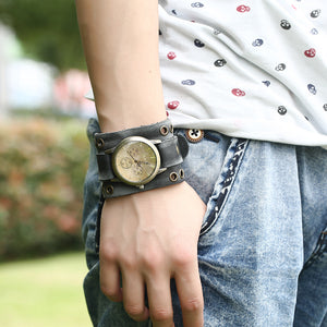 Luxurious Patina Suede Leather Band Watch - Heavy Metal Jewelry Clothing