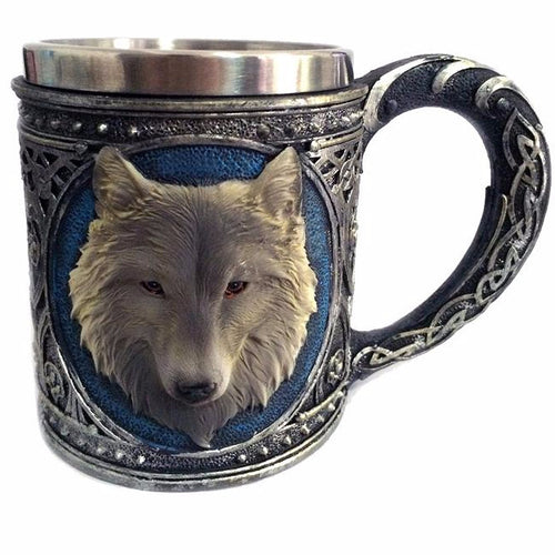 Heavy Metal Wolf Tankard Drinking Mug Double Wall Stainless Steel - Heavy Metal Jewelry Clothing
