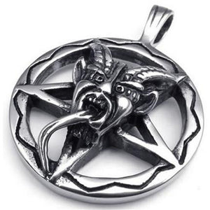 Metal Baphomet Inverted Pentagram Pendant Stainless Steel - Heavy Metal Jewelry Clothing