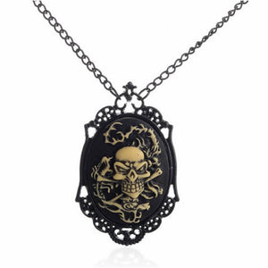 Metal Forlorn Antique Steampunk Bronze Skeleton Pendant Necklace Collection - Heavy Metal Jewelry Clothing
