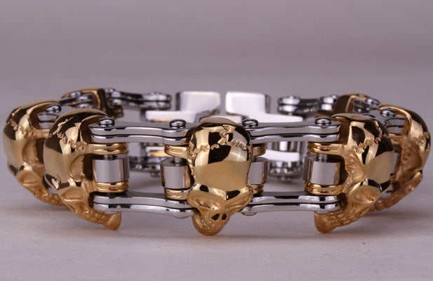 Metal Bike Chain Skulls Bracelet Stainless Steel - Heavy Metal Jewelry Clothing