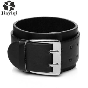 Double Row Buckle Leather Bracelet with Studs - Heavy Metal Jewelry Clothing
