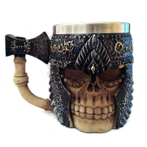 Viking Metal Warrior Skull Tankard with Battleaxe Drinking Mug Stainless Steel - Heavy Metal Jewelry Clothing