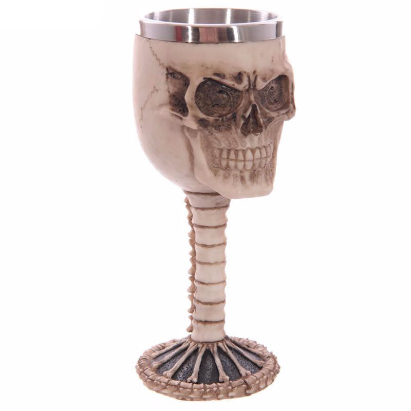 Metal Skull and Spine Chalice Goblet Drinking Mug Stainless Steel - Heavy Metal Jewelry Clothing