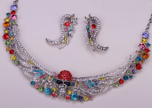 Metal Skull with Wings Necklace Pendant Earrings and Crystals - Heavy Metal Jewelry Clothing