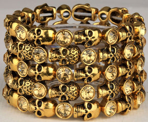 Metal Crypt of Skulls Skeleton Stretch Bracelet - Heavy Metal Jewelry Clothing