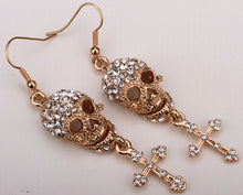 Metal Skull and Cross Dangle Earrings with Crystals - Heavy Metal Jewelry Clothing