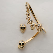 Metal Growing Skulls Left Ear Clip Cuff Earring - Heavy Metal Jewelry Clothing