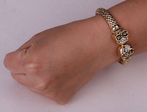 Silver or Gold Metal Skull Bracelet with Crystals - Heavy Metal Jewelry Clothing