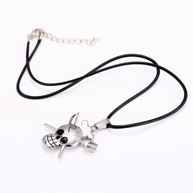 Metal Knife and Fork Skull Pendant Necklace - Heavy Metal Jewelry Clothing