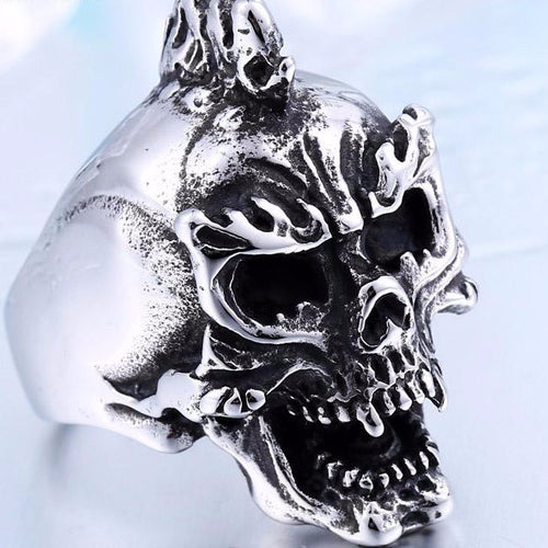 Metal Vampire Flames Skull Ring Stainless Steel - Heavy Metal Jewelry Clothing