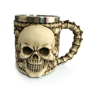 Metal Skull Face Tankard with Spine Handle Drinking Mug Stainless Steel - Heavy Metal Jewelry Clothing