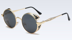 Stunning Metal Frame Steampunk Themed Sunglasses with Polarized Mirror Finish Lenses - Heavy Metal Jewelry Clothing